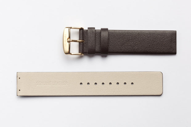 The GOLD - Dark Brown Leather Strap