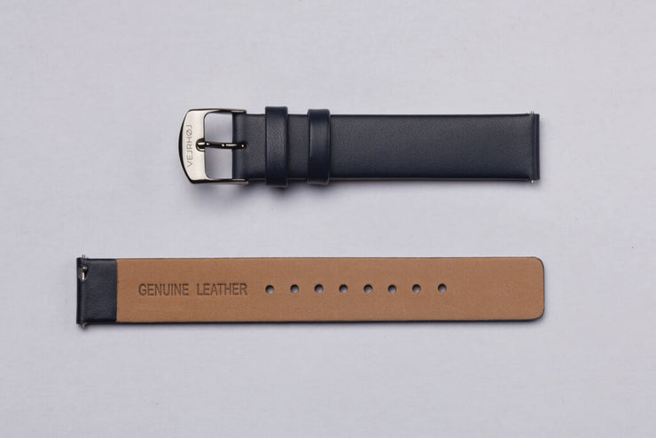 Dull blue leather strap - 16mm width