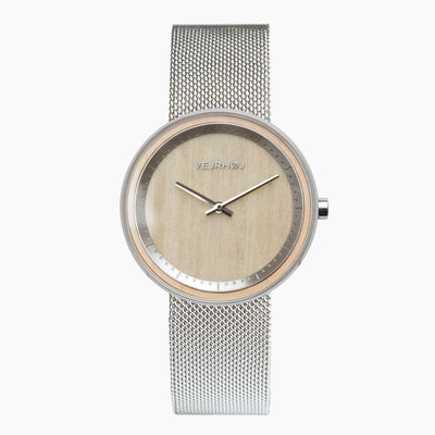 wood watch with mesh band