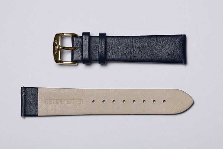 Midnight blue leather strap - gold buckle