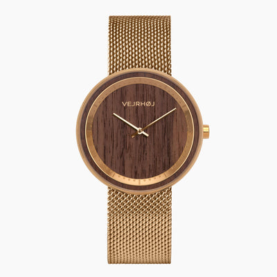 The SUN - gold mesh band - VEJRHØJ wood watches