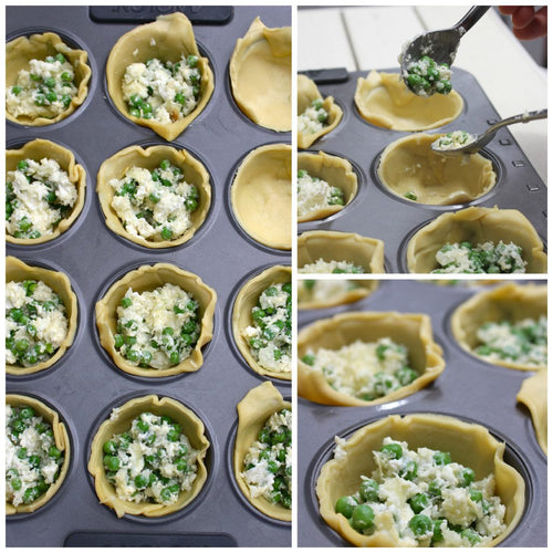 Mini Goats Cheese and Baby Pea Quiches