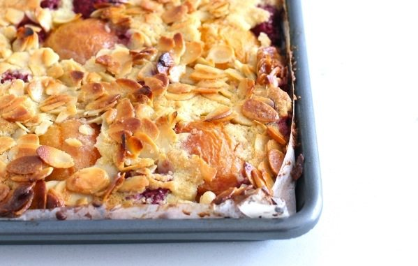 Raspberry, Apricot and Almond Slice
