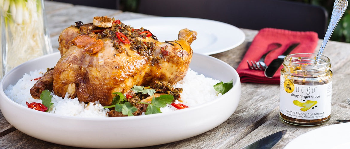 Roast Soy Chicken with Zingy Ginger Sauce