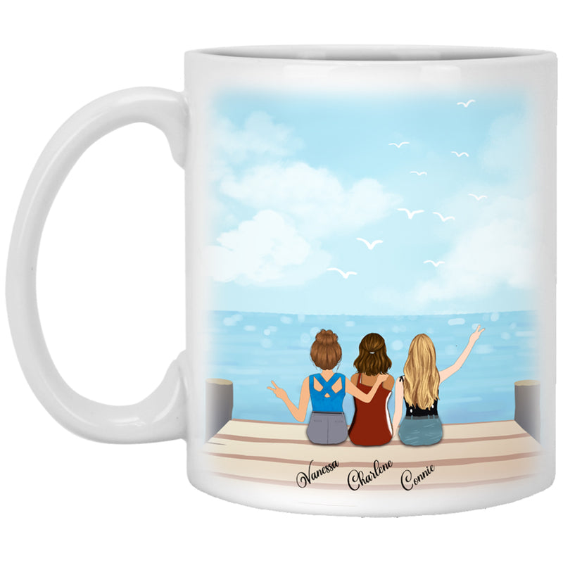 Personalized Best Girls Friends Coffee Mugs - Custom Name, Hair Style and Skin Color - Best Gift Idea For Best Friends Soul Sister - Seaview Background