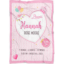 Personalized Baby Girl Blankets - Fleece Baby Blankets Little Girl Princess with Birth Information as Name, BirthDate, Weight, Length