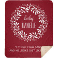 Personalized Christmas Blanket Christmas Wreath with Customized Names Cool Quotes Blanket