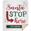 Personalized Christmas Blanket Santa Stop Here Blanket with Customized Family Names Quote Message Blanket