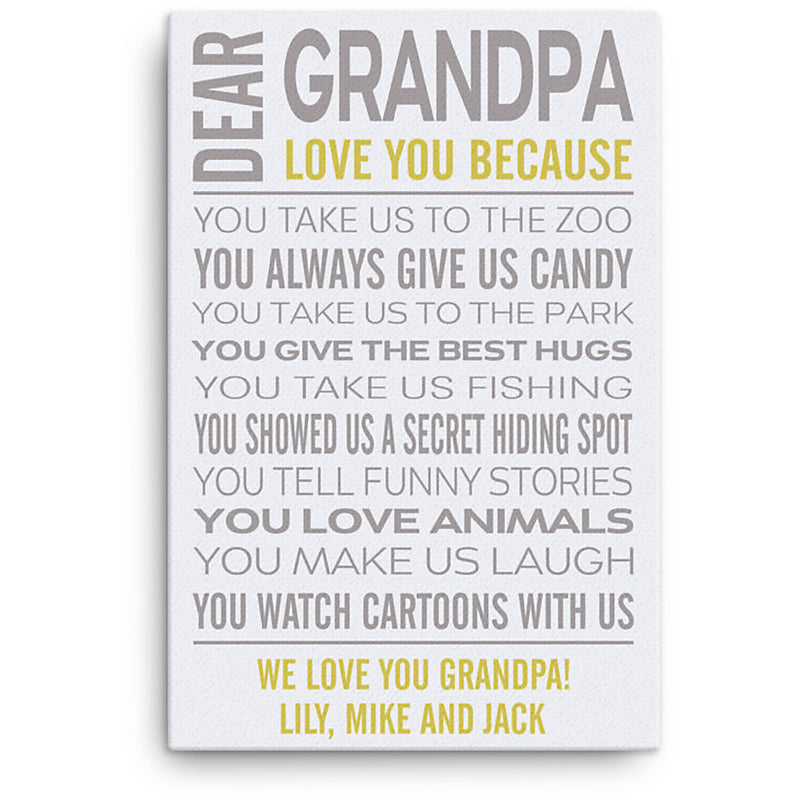 Personalized Canvas - Love Grandpa Custom Framed Canvas from Name and The Special Date