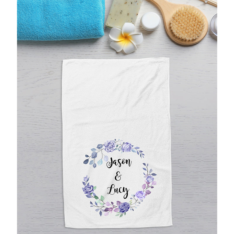 Personalized Flower Wreath Kitchen and Bathroom Hand Towel, Custom Name Housewarming Gifts for Kids Girls Boys Men Women Guest, New Home, Christmas
