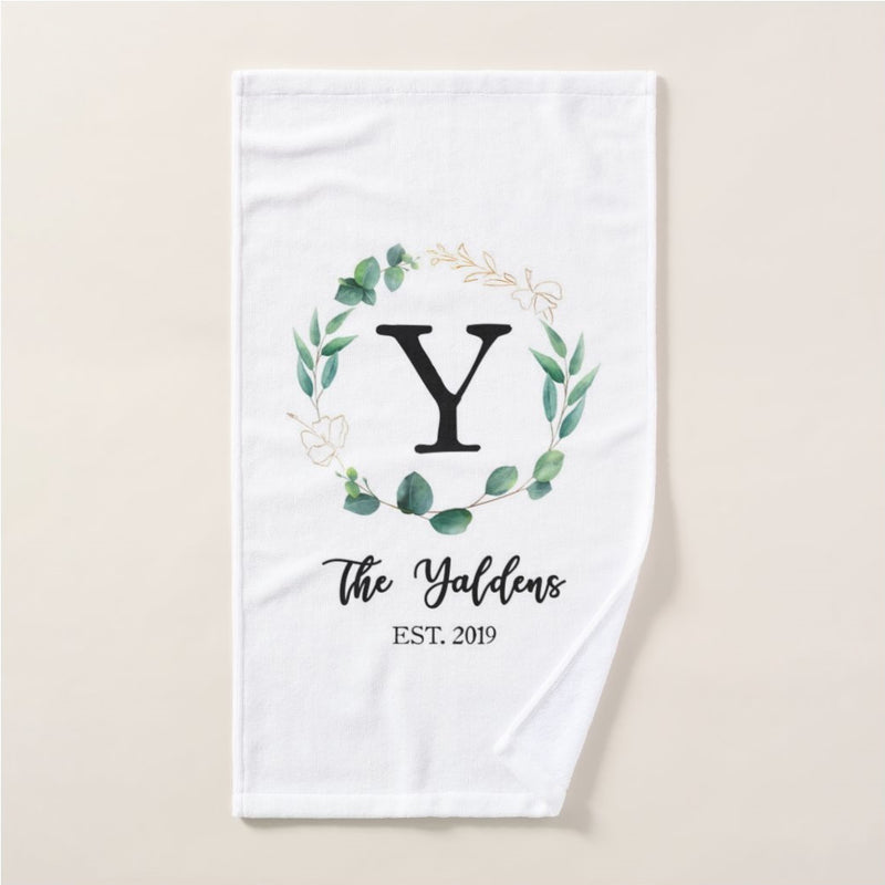 Personalized Leaf Wreath Hand Towel, Custom Name and Year House Warming Gifts for Kids Girls Boys Men Women, New Home, Guest Bathroom, Christmas, Thanksgiving