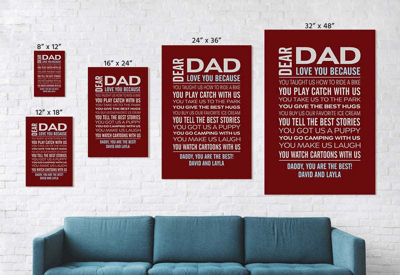 Personalized Canvas - Love Dad Custom Framed Canvas from Name and The Special Date