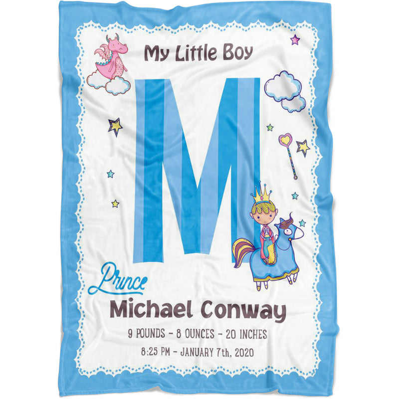 Personalized Baby Boy Blankets - Fleece Baby Blankets Little Boy Prince with Baby Name's Initials and Birth Information as Name, Birth Date, Weight, Length