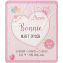 Princess Design - Personalized Pink Name Sherpa Blanket For Baby Princess - Cherished Gift For Your Baby Girl on Special Occasions