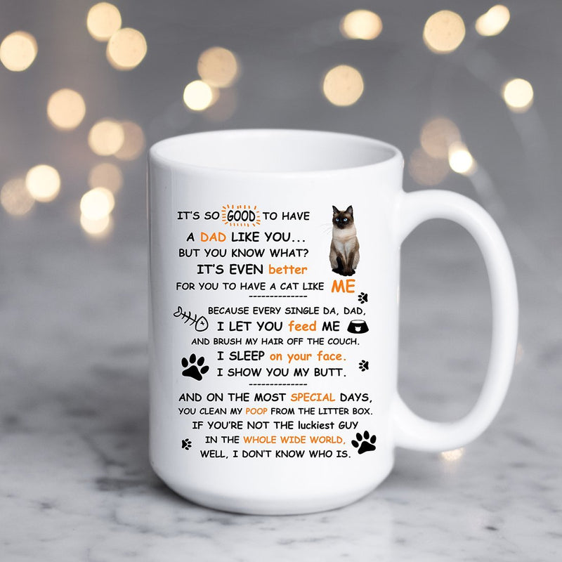 Coffee Mug - Dad Cat Mug - Perfect Gift To Cat Dad Cat Lover - 15 Ounce Coffee Mug Cup - YehGift