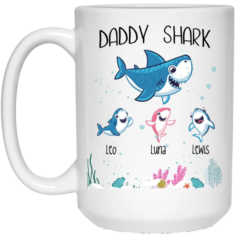 Daddy Shark Happy Fathers Day Funny Mug Gift - Best Coffee Mug for Dad Customized 1-3 kids is Boy/Girl - YehGift