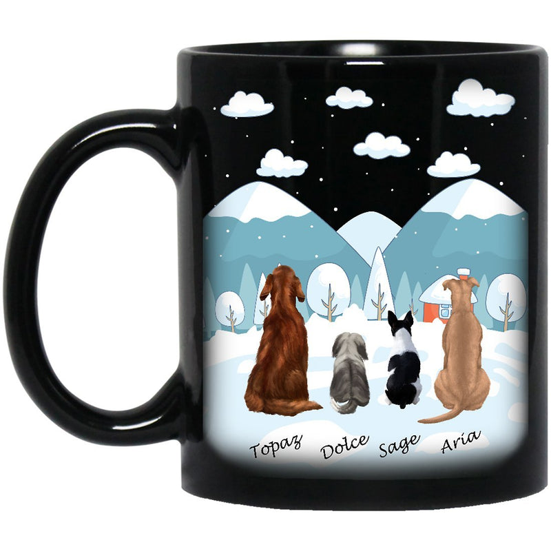 Dog Mug Personalized for Dog Mom, Dog Dad. Custom with Any Dog Breed, Pet Name & Picture. Perfect Gift Idea For Dog Lovers, Pet Memorial Coffee Black Cup on Birthday Christmas Father day - Background WINTER - YehGift