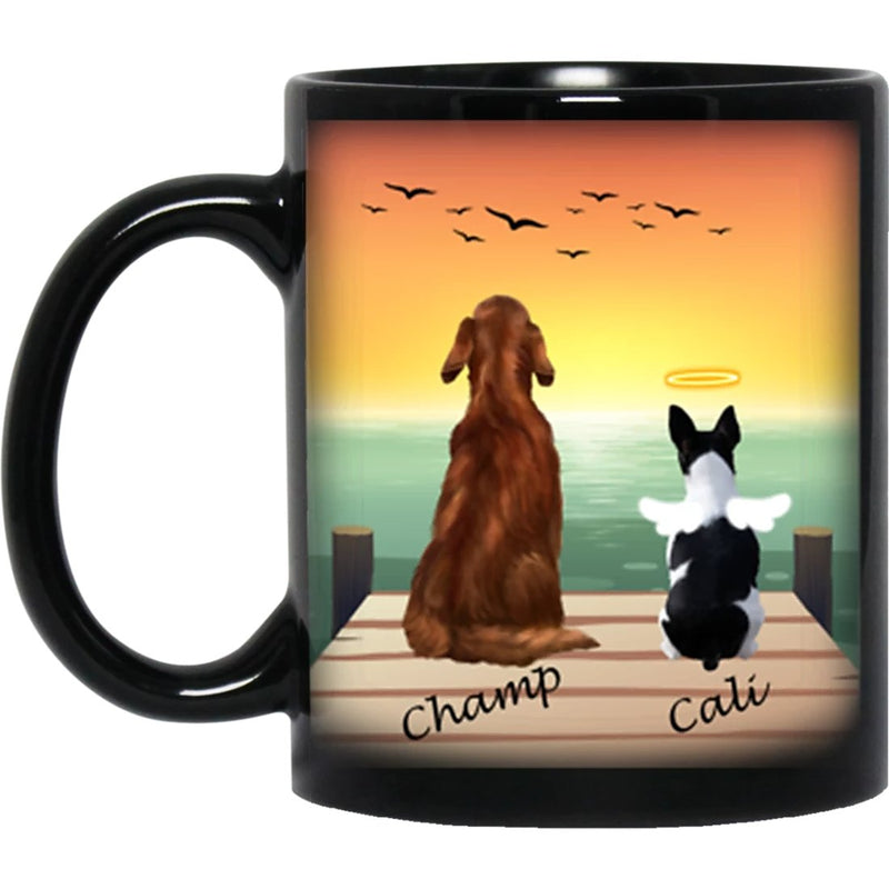 Dog Mug Personalized for Dog Mom, Dog Dad. Custom with Any Dog Breed, Pet Name & Picture. Perfect Gift Idea For Dog Lovers, Pet Memorial Coffee Black Cup on Birthday Christmas Father day - Background SEA VIEW - YehGift