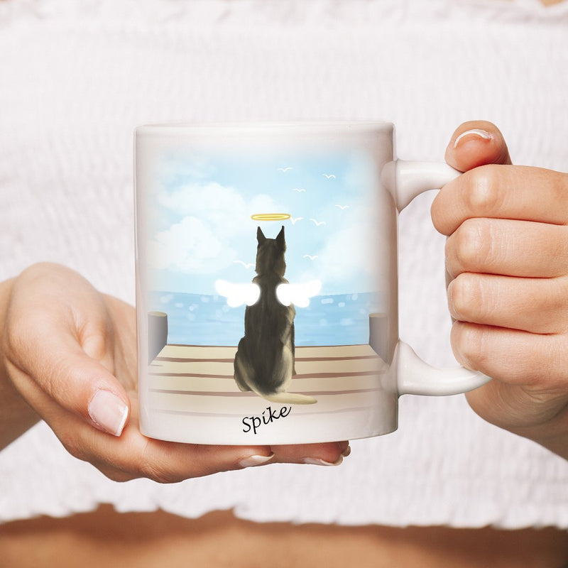 Dog Mug Personalized for Dog Mom, Dog Dad. Custom with Any Dog Breed, Pet Name & Picture. Perfect Gift Idea For Dog Lovers, Pet Memorial Coffee Cup on Birthday Christmas Father day- Background SEAVIEW - YehGift