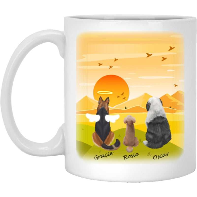 Dog Mug Personalized for Dog Mom, Dog Dad. Custom with Any Dog Breed, Pet Name & Picture. Perfect Gift Idea For Dog Lovers, Pet Memorial Coffee Cup on Birthday Christmas Father day- Background SUNSET - YehGift