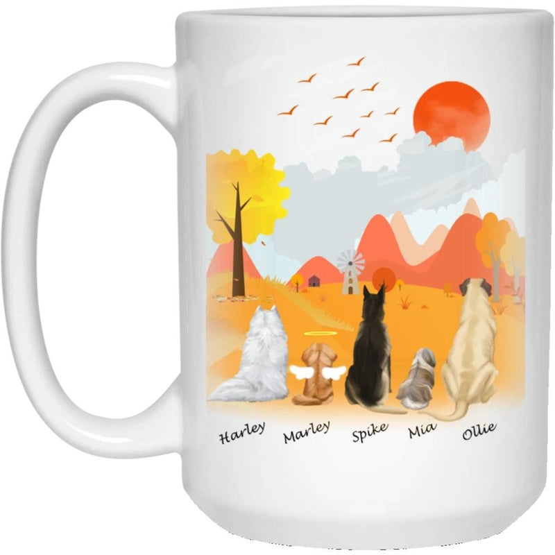 Dog Mug Personalized for Dog Mom, Dog Dad. Custom with Any Dog Breed, Pet Name & Picture. Perfect Gift Idea For Dog Lovers, Pet Memorial Coffee Cup on Birthday Christmas Father day- Background AUTUMN - YehGift