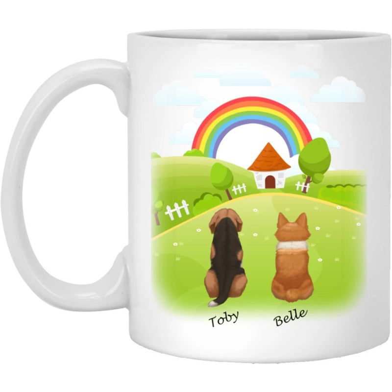 Dog Mug Personalized for Dog Mom, Dog Dad. Custom with Any Dog Breed, Pet Name & Picture. Perfect Gift Idea For Dog Lovers, Pet Memorial Coffee Cup on Birthday Christmas Father day- Background MEADOW - YehGift