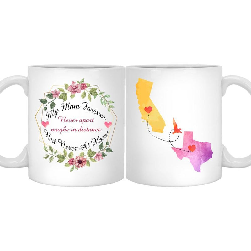 Mom Dad Personalized Long Distance State Coffee Mug, Customized All States. Great Gift for Daughter, Son, grandkids, friends on Mother's Day, Father's Day, Birthday, Christmas - YehGift