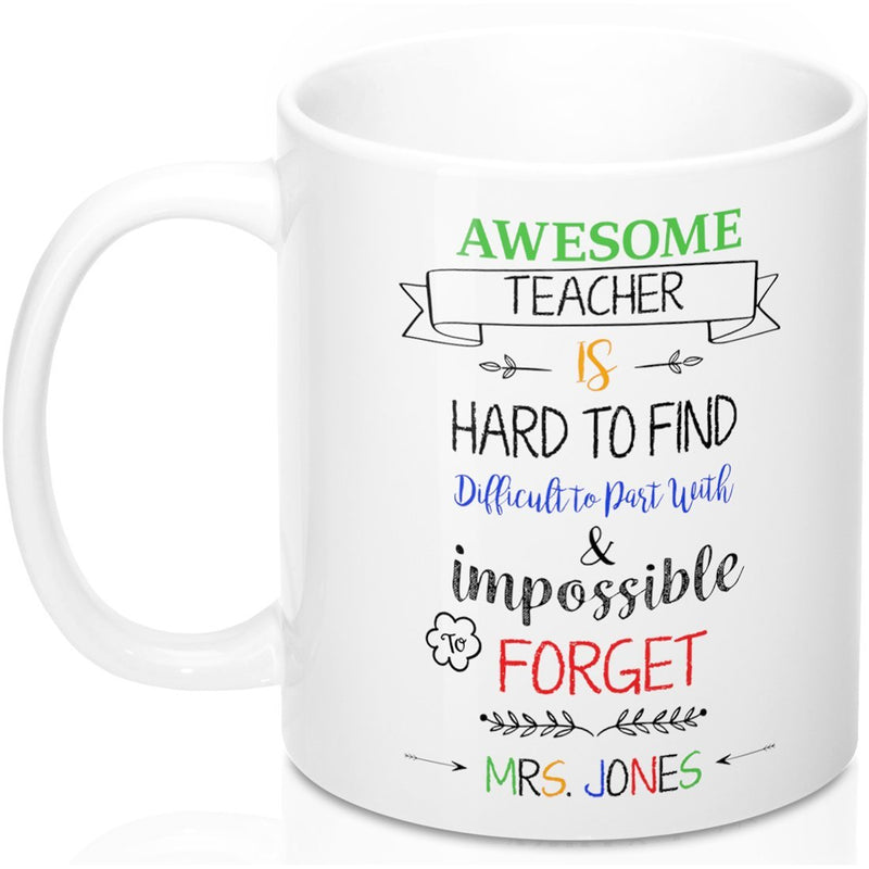 Personalized Awesome Teacher Gift Mug, Customize Name Mugs - Best for Math PE Art History Teachers to Travel or Decor Desk. Appreciation for New Retiring Teachers - YehGift