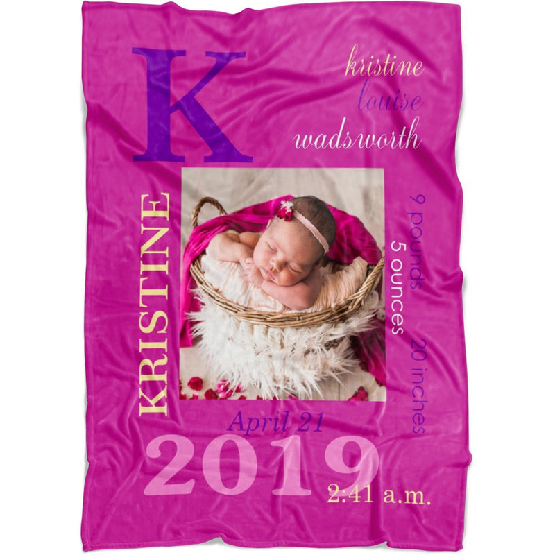 Personalized Baby Photo Newborn Blanket Custom from Baby Photo and Birth Information. Perfect Gift for Girls and Boys. - YehGift