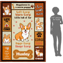 Personalized Blanket Custom Dog's Name Corgi Little Ball Of Fur Cute Puppy Dog Lover Gifts Kids Super Soft Fleece Throw Blanket - YehGift