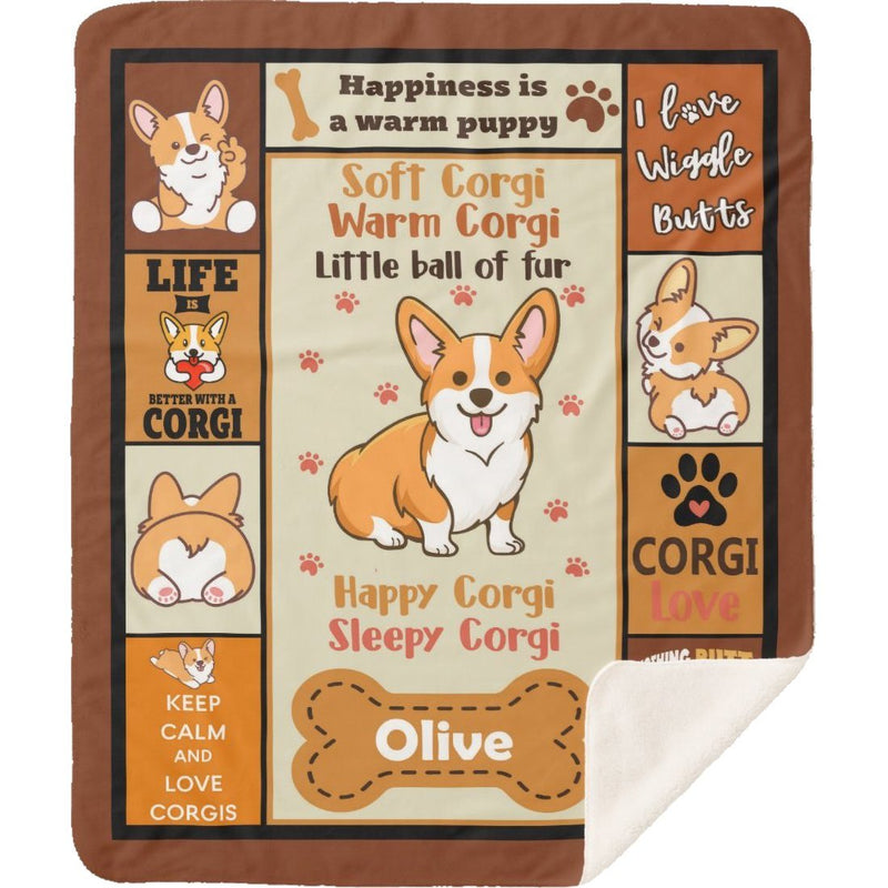 Personalized Blanket Custom Dog's Name Corgi Little Ball Of Fur Cute Puppy Dog Lover Gifts Kids Super Soft Sherpa Blanket - YehGift