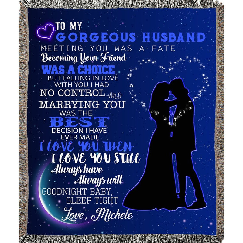 Personalized Blanket Custom Name to My Gorgeous Wife/Husband I Love You Super Soft Woven Blanket Best Gift for Birthday Xmas Wedding Anniversary Romantic - YehGift