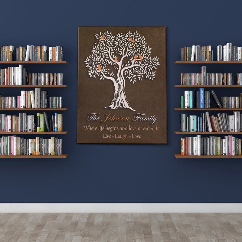 Personalized Canvas - Family Tree Custom Framed Canvas from Family Name and Special Quote - YehGift
