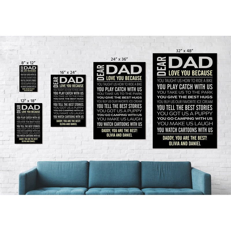 Personalized Canvas - Love Dad Custom Framed Canvas from Name and The Special Date - YehGift