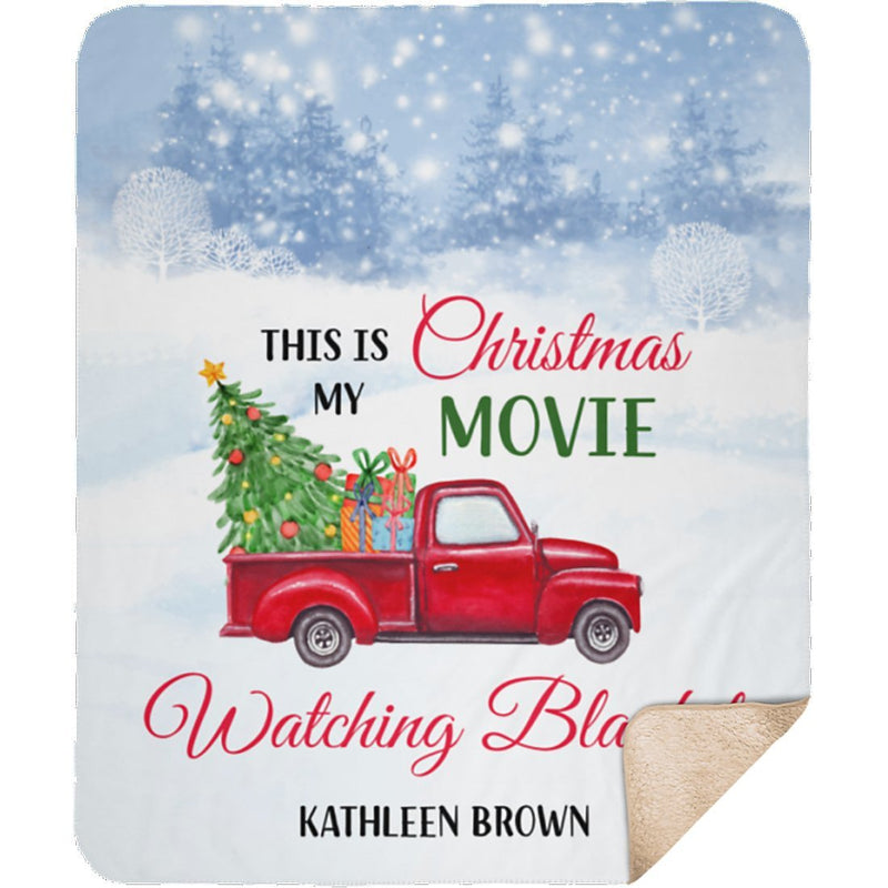 Personalized Christmas Blanket - Christmas Car Blanket with Customized Name and Seasonal Greeting - Sherpa Blanket - YehGift