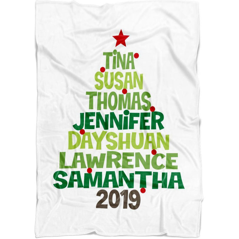 "Personalized Christmas Blanket - Christmas Family Tree Personalized Blanket with Upto 8 Names or Words in Tree Shaped - Baby 30""x40"" Fleece Blanket - YehGift"