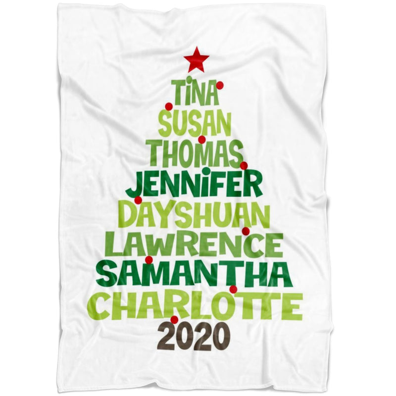 Personalized Christmas Blanket - Christmas Family Tree Personalized Blanket with Upto 8 Names or Words in Tree Shaped - Fleece Blanket - YehGift