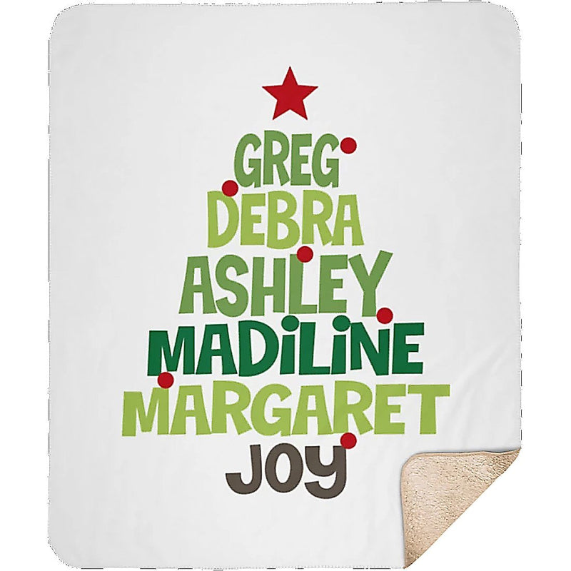 Personalized Christmas Blanket - Christmas Family Tree Personalized Blanket with Upto 8 Names or Words in Tree Shaped - Sherpa Blanket - YehGift
