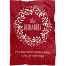 "Personalized Christmas Blanket - Christmas Wreath with Customized Names Cool Quotes - Baby 30""x40"" Fleece Blanket - YehGift"