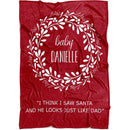 Personalized Christmas Blanket - Christmas Wreath with Customized Names Cool Quotes - Fleece Blanket - YehGift