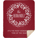 Personalized Christmas Blanket - Christmas Wreath with Customized Names Cool Quotes - Sherpa Blanket - YehGift