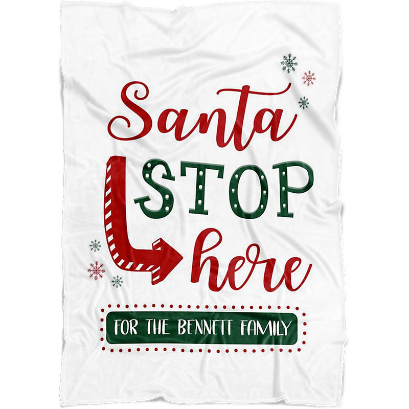 "Personalized Christmas Blanket - Santa Stop Here Blanket with Customized Family Names Quote Message - Baby 30""x40"" Fleece Blanket - YehGift"