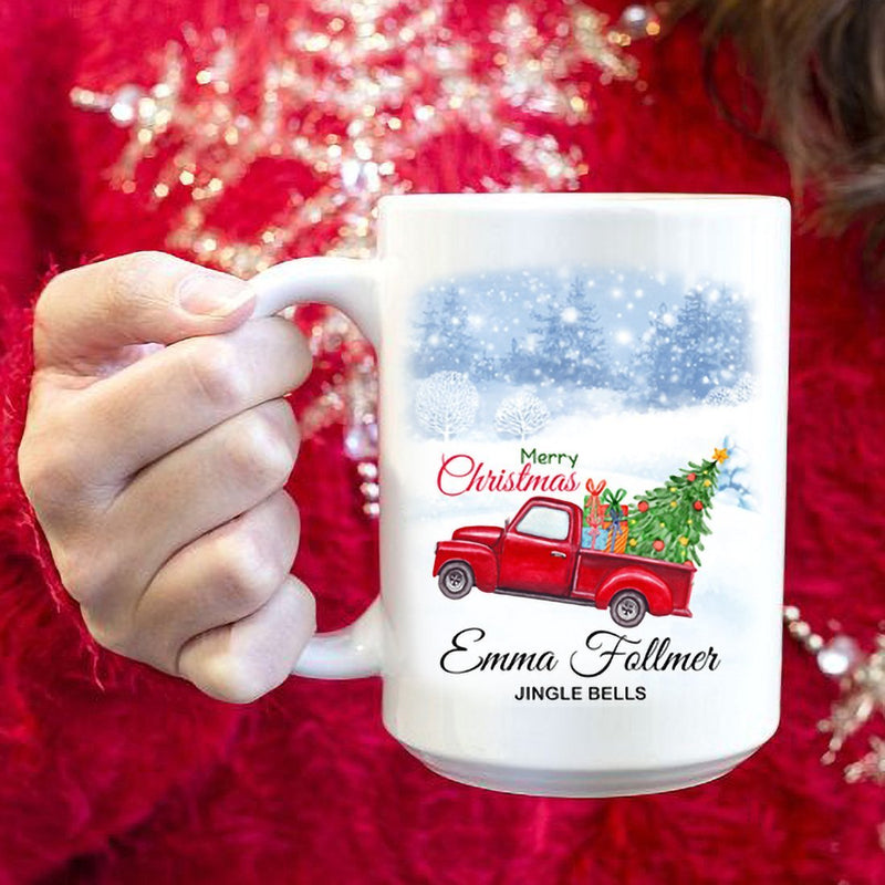Personalized Christmas Car Mugs - Merry Christmas Customized Coffee Mug with Your Name and Family's Member Name - YehGift