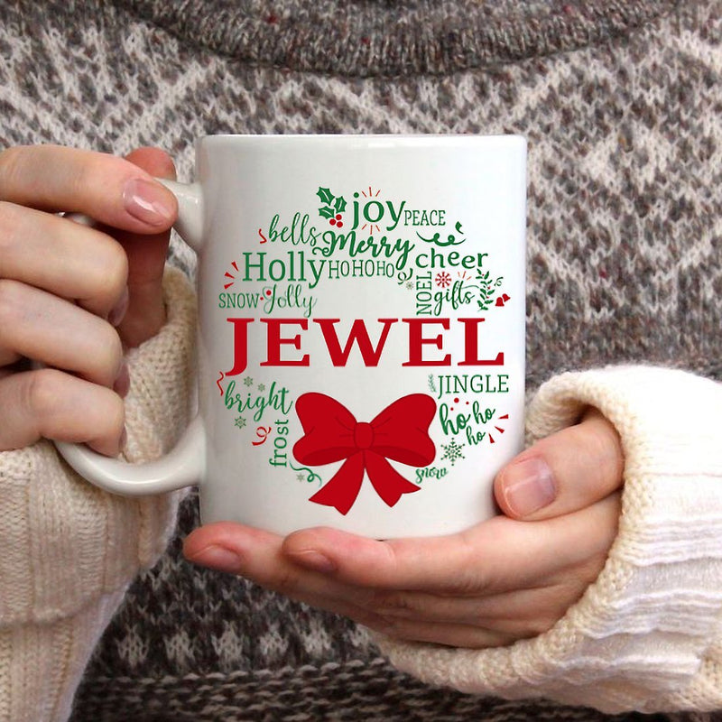 Personalized Christmas Mistletoe Mugs. Merry Christmas Customized Coffee Mug with Your Name and Family's Member Name. Must have Family Gifts for Christmas Thanksgiving Dad Mom Kids Grandparents - YehGift