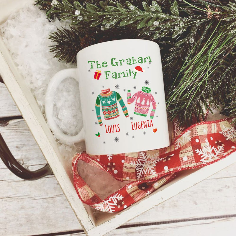 Personalized Christmas Sweater Mug, Customize Kids or Couple Name. Best Idea Coffee Tea Travel Beer Mug Gift For Family Couples Mom Dad Women Men. Merry Christmas Gifts for Him Her on Holiday - YehGift