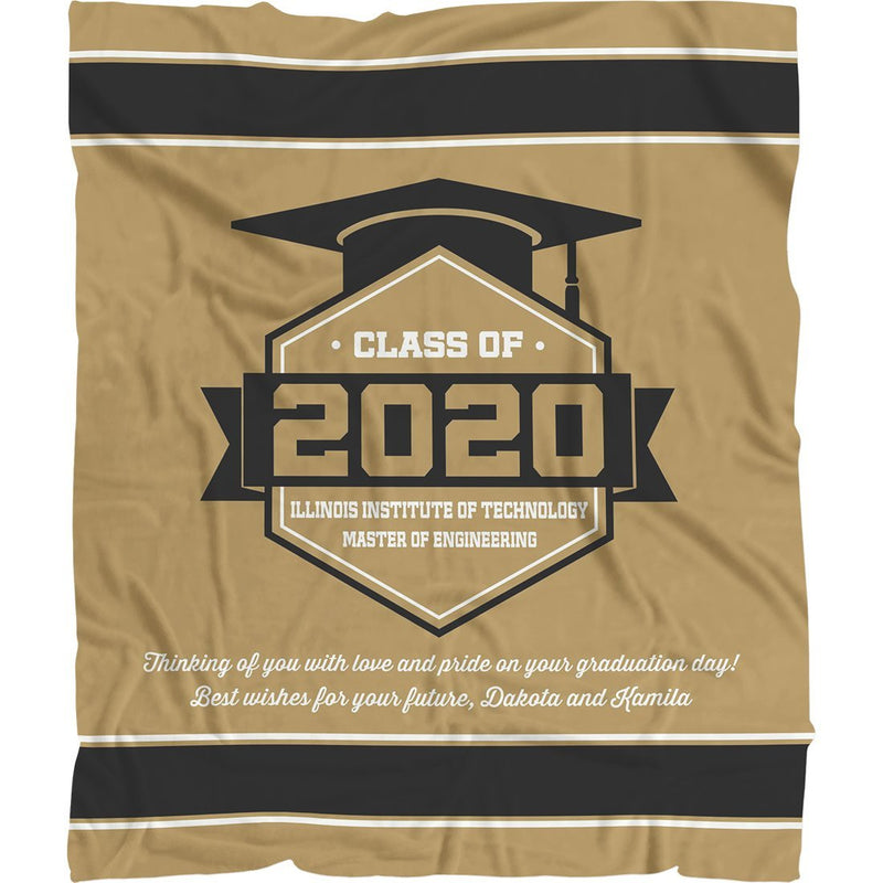 Personalized Graduation Blanket - Class Of Personalized Blanket with Graduation Year, Name, School, Degree and Message - Fleece Blanket - YehGift