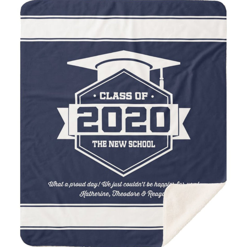 Personalized Graduation Blanket - Class Of Personalized Blanket with Graduation Year, Name, School, Degree and Message - Sherpa Blanket - YehGift