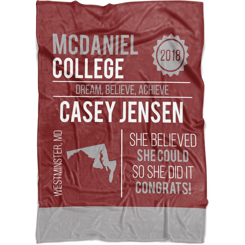 Personalized Graduation Blanket - Custom Fleece Blanket with Name, School Name, State and any Favorite Quote or Titles with Special Meanings - Dark Red - YehGift