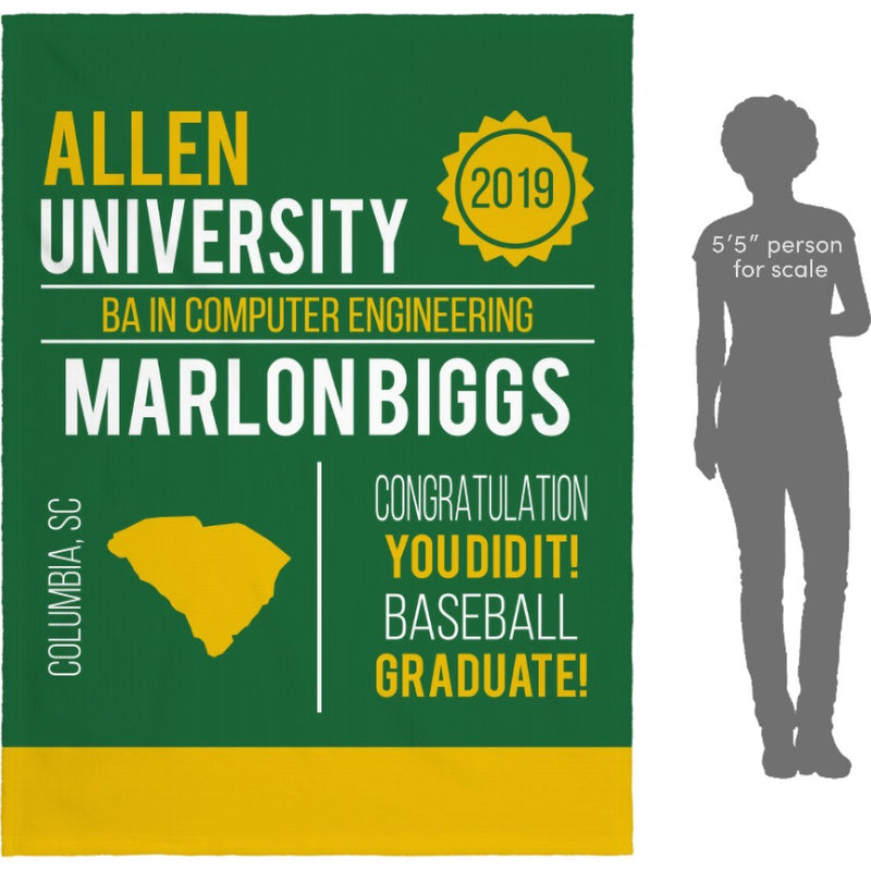 Personalized Graduation Blanket - Custom Fleece Blanket with Name, School Name, State and any Favorite Quote or Titles with Special Meanings - Green - YehGift