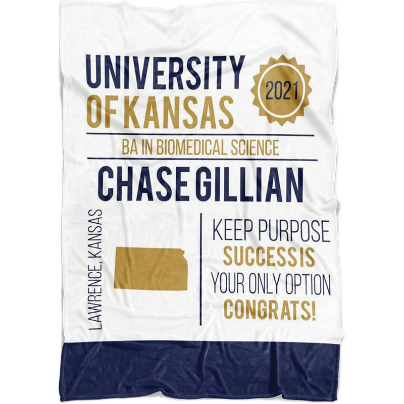 Personalized Graduation Blanket - Custom Fleece Blanket with Name, School Name, State and any Favorite Quote or Titles with Special Meanings - White - YehGift